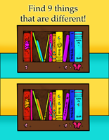 Find the difference on the bookshelf game